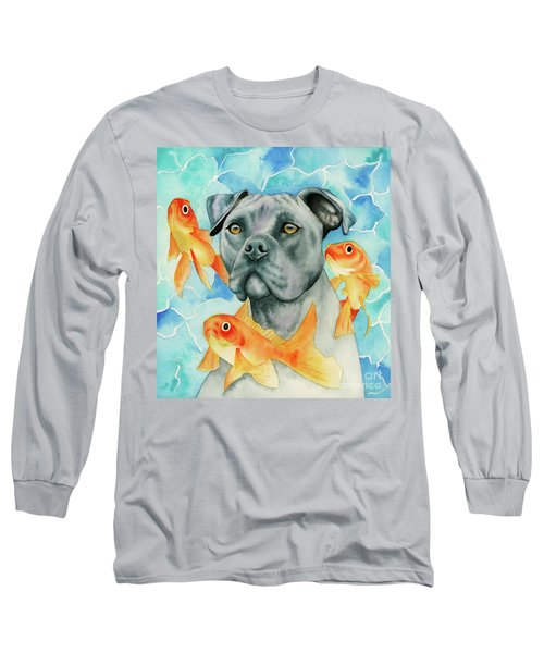 Guardian - Pit Bull Dog And Goldfishes Watercolor Painting Long Sleeve T-Shirt