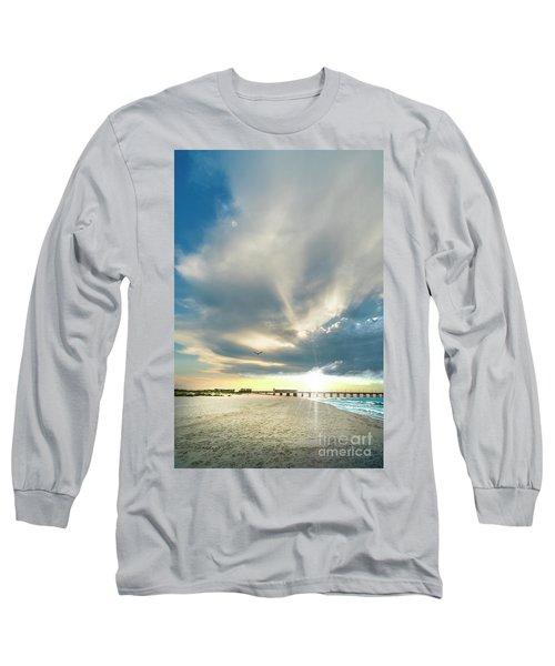 Gulf Shores Al Pier Seascape Sunrise 152a Long Sleeve T-Shirt