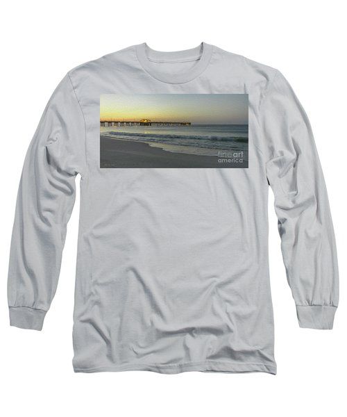 Gulf Shores Alabama Fishing Pier Digital Painting A82518 Long Sleeve T-Shirt