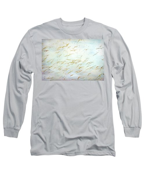 Long Sleeve T-Shirt featuring the painting Gulls At The Beach by Peggy Collins
