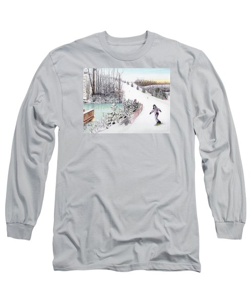 Long Sleeve T-Shirt featuring the painting Gunnar Slope And The Ducky Pond by Albert Puskaric