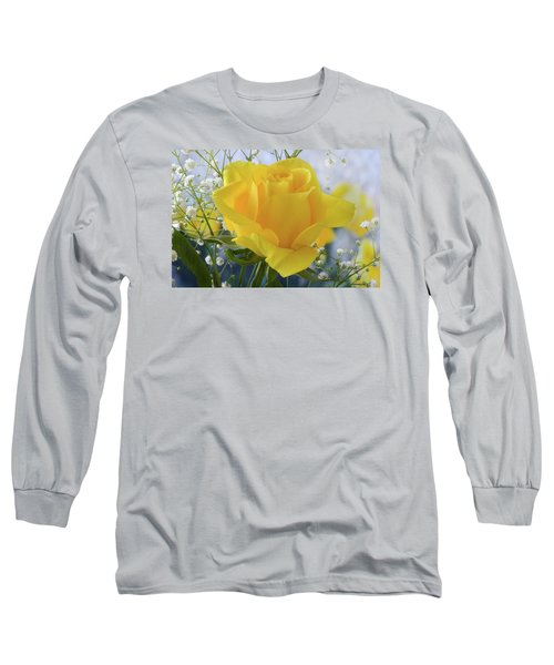 Long Sleeve T-Shirt featuring the photograph Gypsophila And The Rose. by Terence Davis