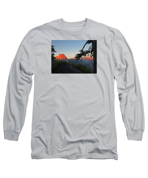 Long Sleeve T-Shirt featuring the photograph Half Dome - Sunset On A Bright Day by Walter Fahmy
