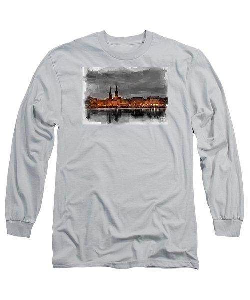 Hamburg Germany Skyline 01 Long Sleeve T-Shirt