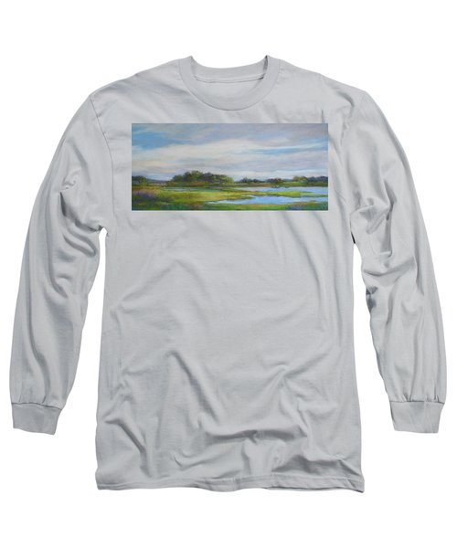 Long Sleeve T-Shirt featuring the painting Hammonassett Sky by Vikki Bouffard
