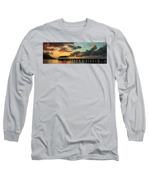Hanalei Pier Sunset Panorama Long Sleeve T-Shirt