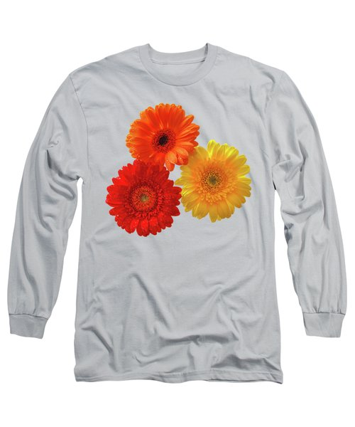 Happiness Orange Red And Yellow Gerbera On Blue Long Sleeve T-Shirt