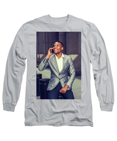 Happy African American Businessman Working In New York 15082323 Long Sleeve T-Shirt