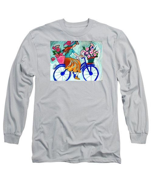 Happy Flower Lady Long Sleeve T-Shirt