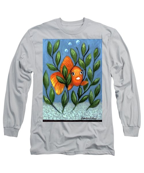 Long Sleeve T-Shirt featuring the painting Happy Goldfish by Sandra Estes