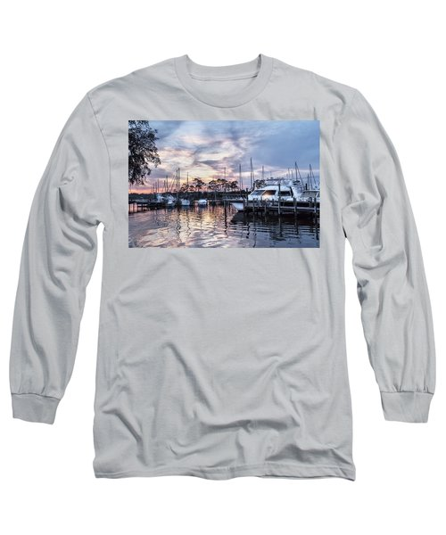 Happy Hour Sunset At Bluewater Bay Marina, Florida Long Sleeve T-Shirt