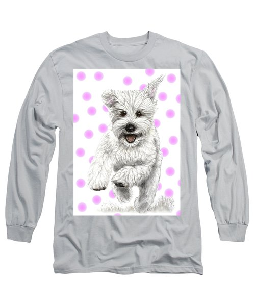 Long Sleeve T-Shirt featuring the drawing Happy Pink Polka Dots Doggy  by Heidi Kriel