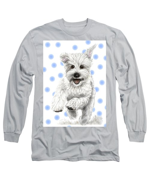 Long Sleeve T-Shirt featuring the drawing Happy Blue Polka Dots Doggy by Heidi Kriel