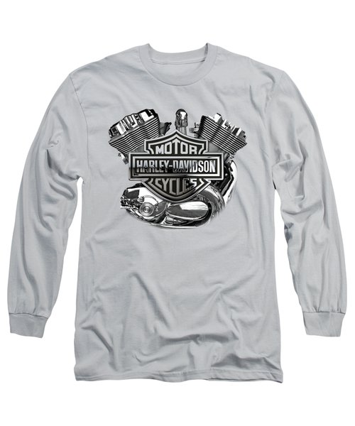 Long Sleeve T-Shirt featuring the digital art Harley-davidson Motorcycle Engine Detail With 3d Badge  by Serge Averbukh