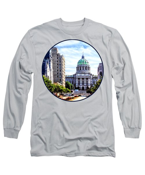 Harrisburg Pa - Capitol Building Seen From State Street Long Sleeve T-Shirt by Susan Savad