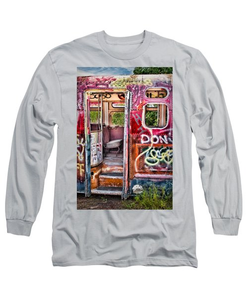 Long Sleeve T-Shirt featuring the photograph Haunted Graffiti Art Bus by Susan Candelario
