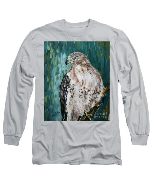 Long Sleeve T-Shirt featuring the painting Hawk by Maria Langgle