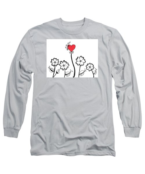 Heart Flower Long Sleeve T-Shirt by Billinda Brandli DeVillez