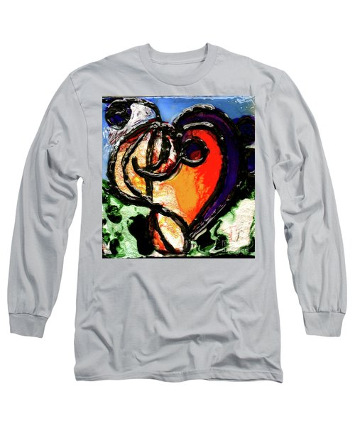 Long Sleeve T-Shirt featuring the painting Heart Robin Treble by Genevieve Esson