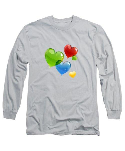 Hearts 11 T-shirt Long Sleeve T-Shirt by Herb Strobino