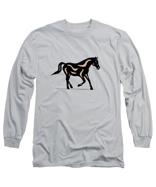 Heinrich - Pop Art Horse - Black, Hazelnut, Island Paradise Blue Long Sleeve T-Shirt