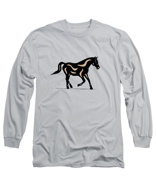 Heinrich - Pop Art Horse - Black, Hazelnut, Island Paradise Blue Long Sleeve T-Shirt