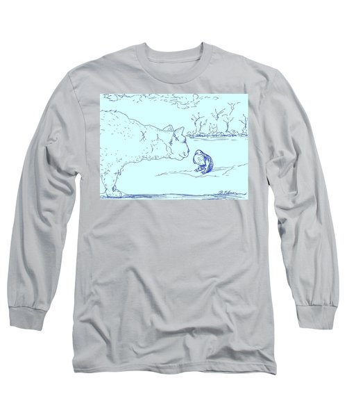 Long Sleeve T-Shirt featuring the drawing Hello Birdie by Denise Fulmer