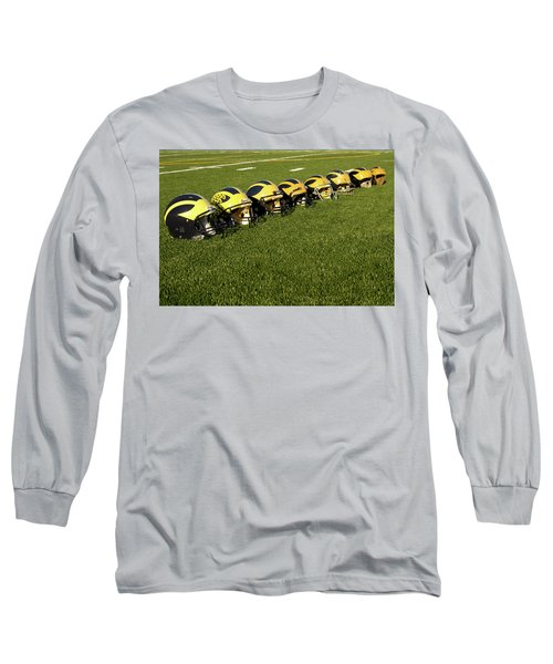 Helmets Of Different Eras On The Field Long Sleeve T-Shirt