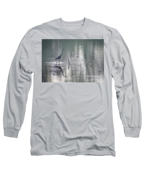 Long Sleeve T-Shirt featuring the photograph Heron In Pastel Waters by Skip Willits