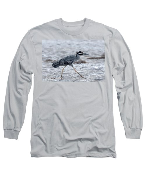 Yellow-crowned Night Heron On A Mission Long Sleeve T-Shirt