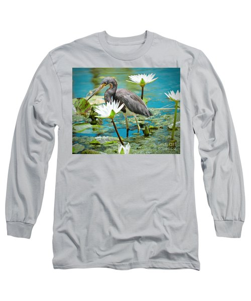 Heron With Water Lillies Long Sleeve T-Shirt