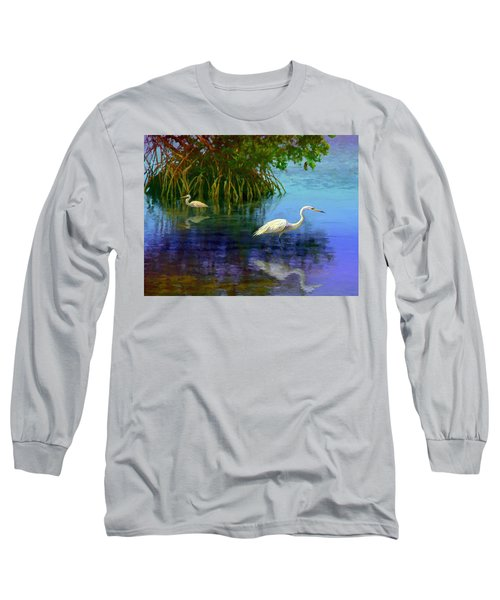 Long Sleeve T-Shirt featuring the painting Herons In Mangroves by David  Van Hulst
