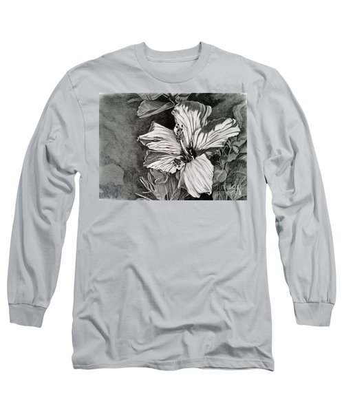Long Sleeve T-Shirt featuring the drawing Hibiscus by Terri Mills