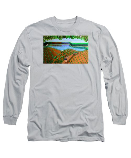 Hidden Water From Above Long Sleeve T-Shirt by Lorna Maza