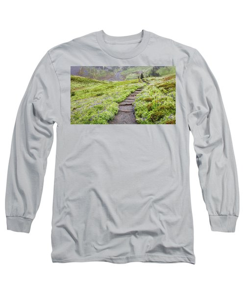 Long Sleeve T-Shirt featuring the photograph Hiking Mount Rainier In The Fog by Pierre Leclerc Photography