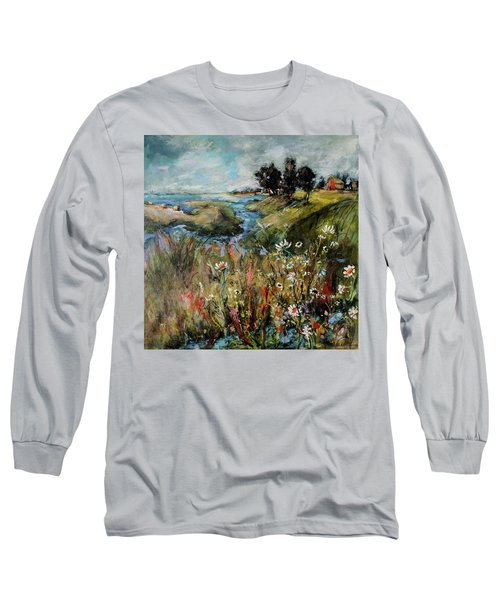 Hill Top Wildflowers Long Sleeve T-Shirt by Sharon Furner
