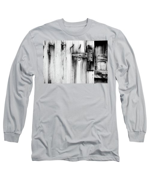 Hinged In Black And White Long Sleeve T-Shirt