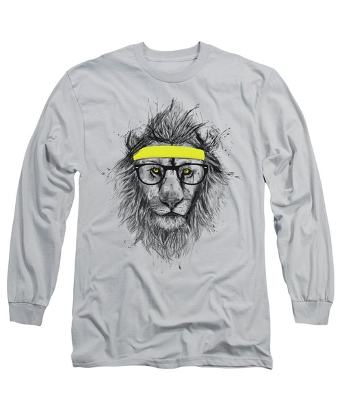 Hipster Lion Long Sleeve T-Shirt by Balazs Solti