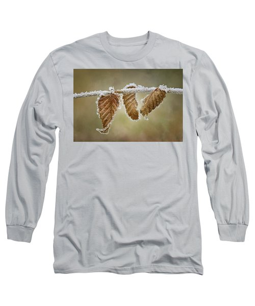 Long Sleeve T-Shirt featuring the photograph Hoar Frost - Leaves by Nikolyn McDonald