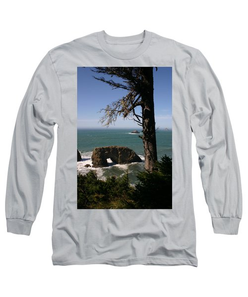 Long Sleeve T-Shirt featuring the photograph Hole In One At Arch Rock by Marie Neder