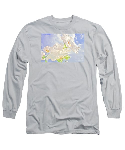 Hollyhocks And Sky Long Sleeve T-Shirt