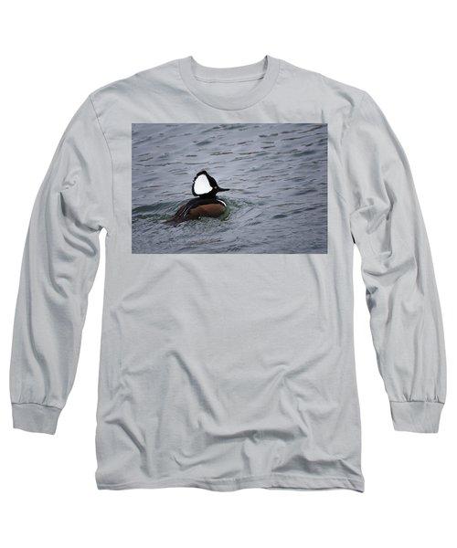 Hooded Merganser 3 Long Sleeve T-Shirt by Gary Hall