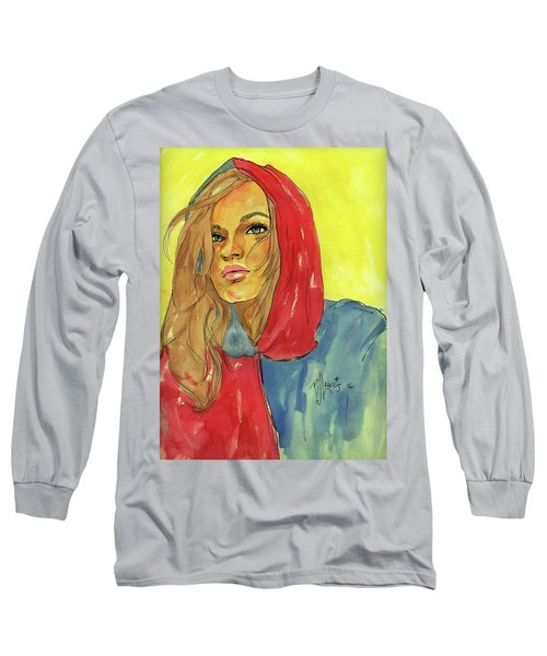 Long Sleeve T-Shirt featuring the painting Hoody by P J Lewis