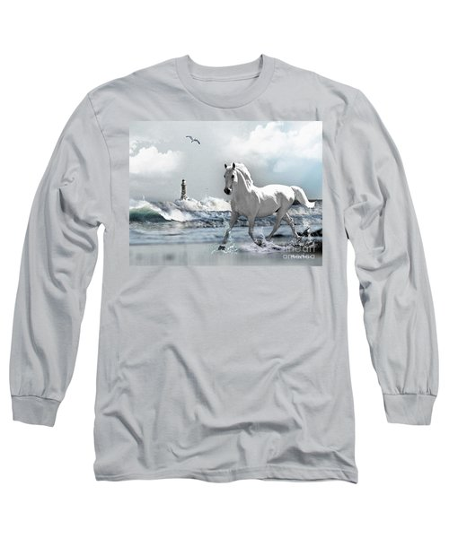 Horse At Roker Pier Long Sleeve T-Shirt