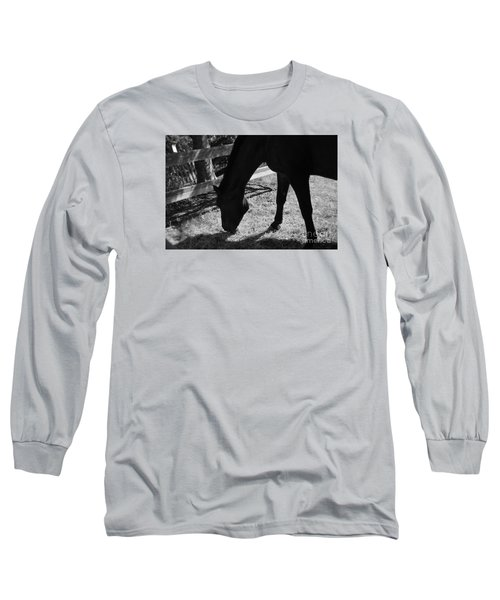 Long Sleeve T-Shirt featuring the photograph Horse In Black And White by Tanya  Searcy