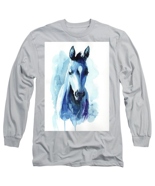 Horse In Blue Long Sleeve T-Shirt