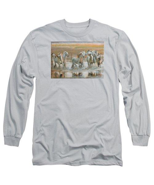 Horse Reflection Long Sleeve T-Shirt by Vali Irina Ciobanu