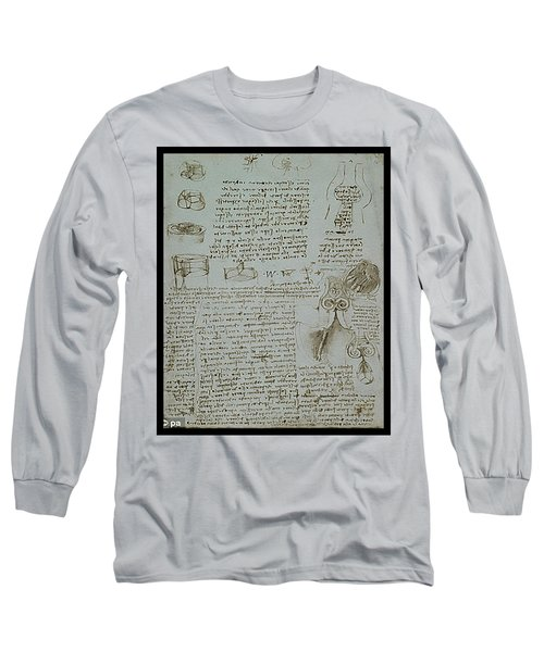Long Sleeve T-Shirt featuring the painting Human Study Notes by James Christopher Hill