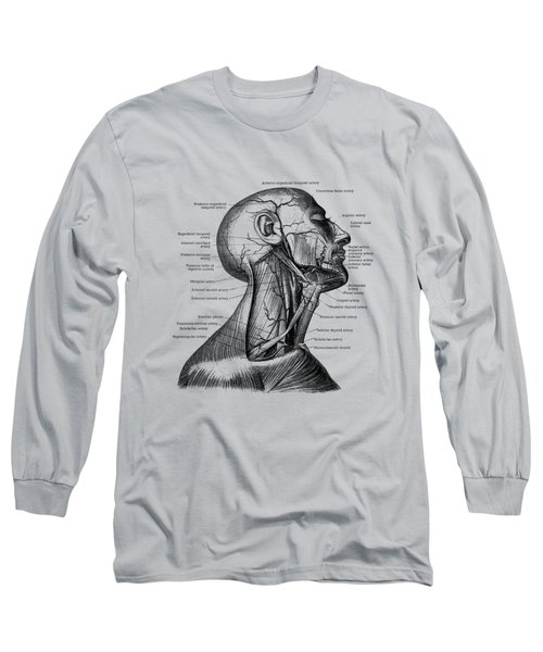 Human Venous And Circulatory Systems - Neck - Vintage Anatomy Long Sleeve T-Shirt