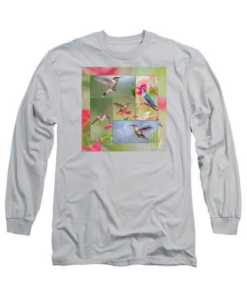 Hummingbird Collage Long Sleeve T-Shirt by Bonnie Barry